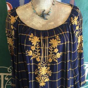 Fever Tunic Boho Embroidered 3X